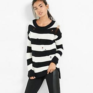 Express Striped Distressed Sweater